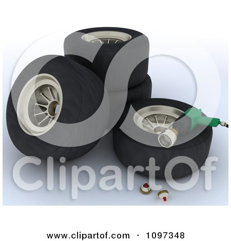 Clipart 3d Pit Stop Tires And Tools - Royalty Free CGI Illustration by KJ Pargeter