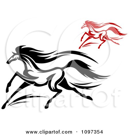 Clipart Black And Red Horses Running 2 - Royalty Free Vector Illustration by Vector Tradition SM