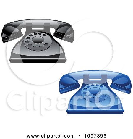 Clipart 3d Shiny Retro Desk Telephones - Royalty Free Vector Illustration by Vector Tradition SM