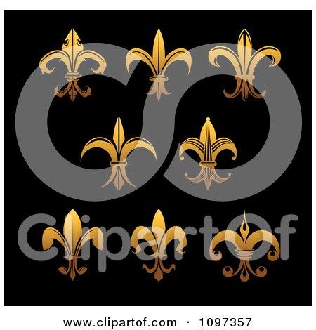 Clipart Golden Fleur De Lis Symbols On Black - Royalty Free Vector Illustration by Vector Tradition SM