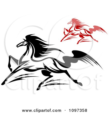 Clipart Black And Red Horses Running 1 - Royalty Free Vector Illustration by Vector Tradition SM
