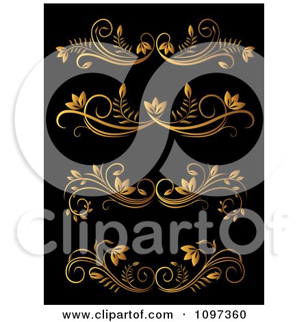 Clipart Golden Flourish Rule And Border Design Elements 14 - Royalty Free Vector Illustration by Vector Tradition SM