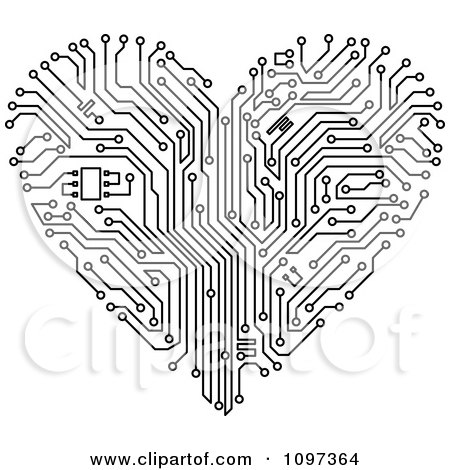Black And White Circuit Board Heart Posters, Art Prints