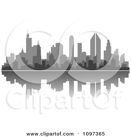 Clipart Grayscale City Skyline And Reflection - Royalty Free Vector Illustration by Vector Tradition SM