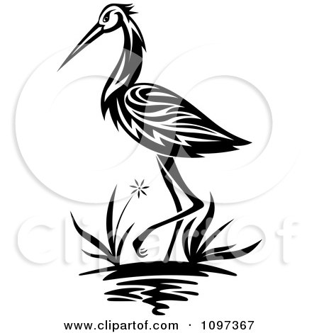 Clipart Black And White Crane Wading In A Marsh - Royalty Free Vector Illustration by Vector Tradition SM