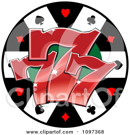 Clipart Poker Chip With Three Lucky Number Sevens - Royalty Free Vector Illustration by Vector Tradition SM