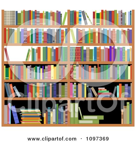 Clipart Shelves With Colorful Reference Books - Royalty Free Vector Illustration by Vector Tradition SM