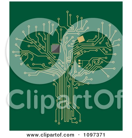 Clipart Gold Circuit Tree On Green - Royalty Free Vector Illustration by Vector Tradition SM