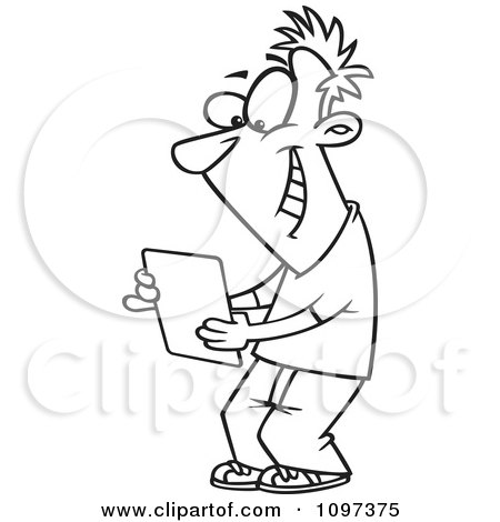 Clipart Outlined Happy Young Man Using A Computer Tablet - Royalty Free Vector Illustration by toonaday
