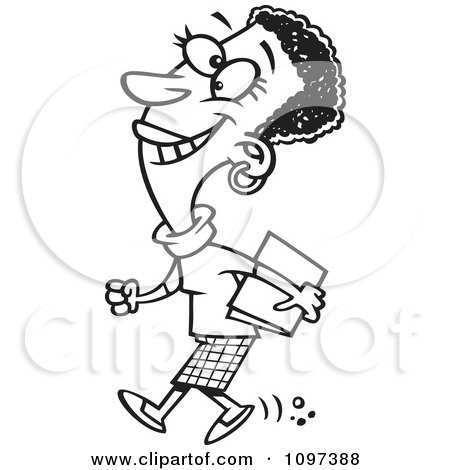 Clipart Outlined Happy Black Business Woman Walking To A Meeting - Royalty Free Vector Illustration by toonaday