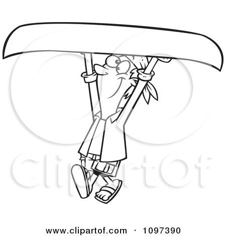 Clipart Outlined Happy Man Carrying A Canoe Above His Head - Royalty Free Vector Illustration by toonaday