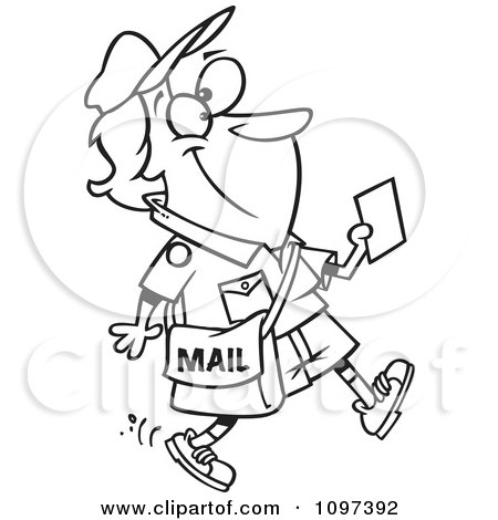 Clipart Outlined Happy Mail Woman Walking And Holding A Message - Royalty Free Vector Illustration by toonaday