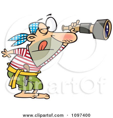 Clipart Pirate Viewing Through A Spyglass Telescope - Royalty Free Vector Illustration by Ron Leishman