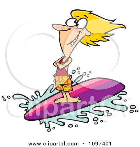 Happy Blond Surfer Girl Riding A Wave Posters, Art Prints