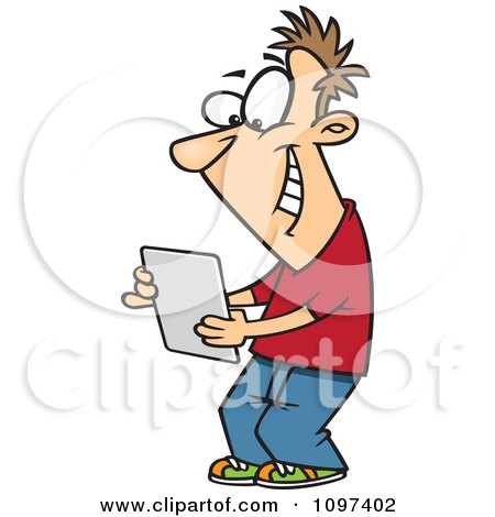 Clipart Happy Young Man Using A Computer Tablet - Royalty Free Vector Illustration by toonaday