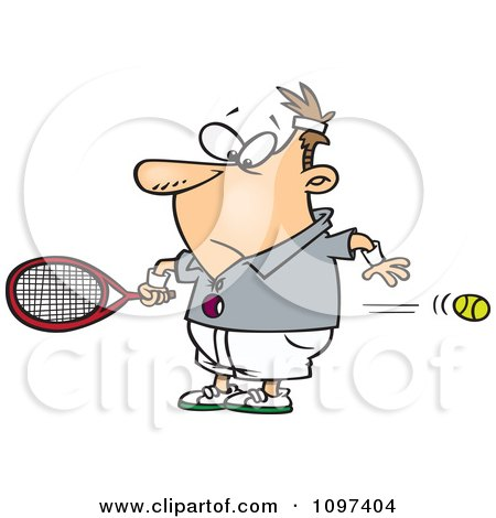 Clipart Surprised Man Watching A Fast Tennis Ball Fly Through His Belly - Royalty Free Vector Illustration by toonaday