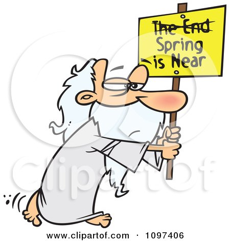 Clipart Man Carrying A Spring Is Near Sign With The End Crossed Out - Royalty Free Vector Illustration by toonaday