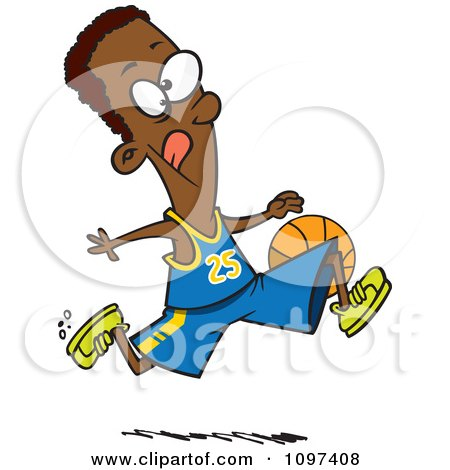 Clipart Black Athletic Basketball Player Dribbling The Ball - Royalty Free Vector Illustration by toonaday