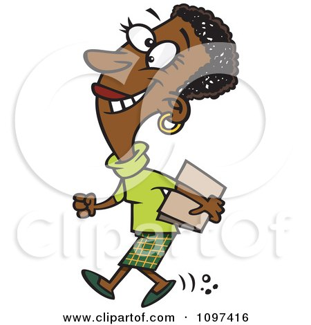 Clipart Happy Black Businesswoman Off To A Meeting - Royalty Free Vector Illustration by toonaday