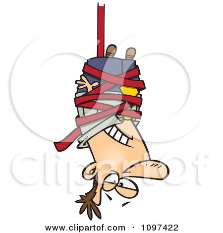 Clipart Businessman Caught Hanging Upside Down In Red Tape Formalities - Royalty Free Vector Illustration by toonaday