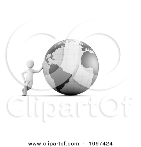 Clipart 3d White Guy Leaning Against A Gray Globe - Royalty Free CGI Illustration by chrisroll