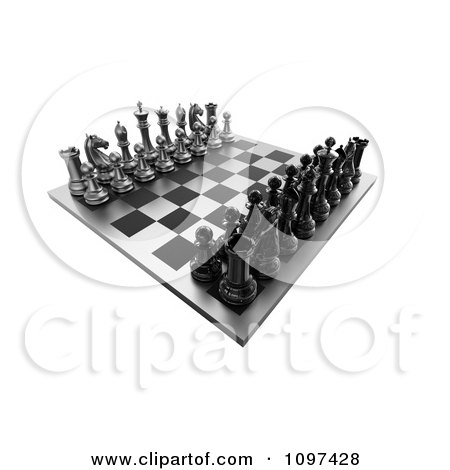 Clipart 3d Chess Board Set Up 1 - Royalty Free CGI Illustration by chrisroll