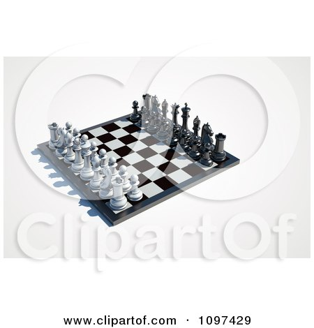 Clipart 3d Chess Board Set Up 2 - Royalty Free CGI Illustration by chrisroll