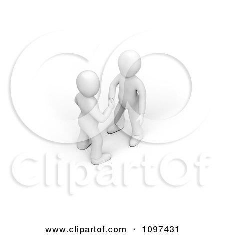 3d White Men Shaking Hands Posters, Art Prints