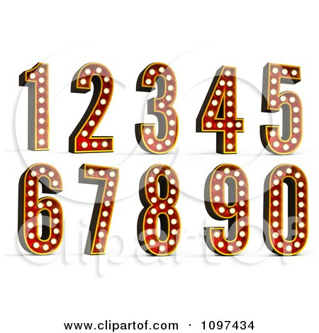 Clipart 3d Theatre Light Numbers - Royalty Free CGI Illustration by stockillustrations