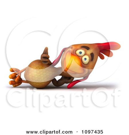 Clipart 3d Brown Chicken Relaxing - Royalty Free CGI Illustration by Julos