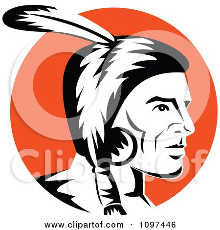 clipart of a retro american indian chief and feather headdress rh clipartof com indian head silhouette clip art indian warrior head clip art