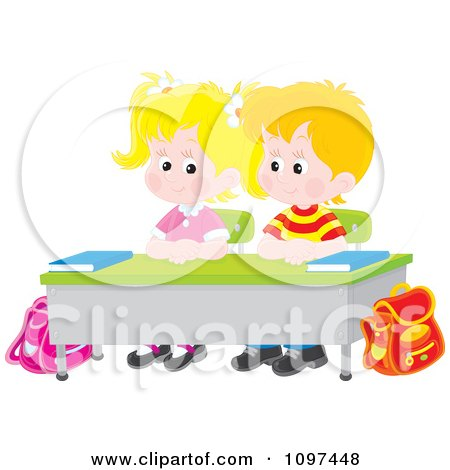 Cute School Boy And Girl Seated Patiently At Their Desk Posters, Art Prints
