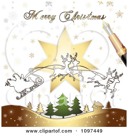 Clipart Merry Christmas Greeting Drawn By A Pen Over Santas Magic Sleigh And Trees - Royalty Free Vector Illustration by merlinul