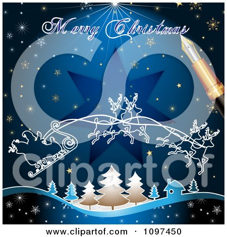 Clipart Merry Christmas Greeting Drawn By A Pen Over Santas Magic Sleigh And Blue - Royalty Free Vector Illustration by merlinul