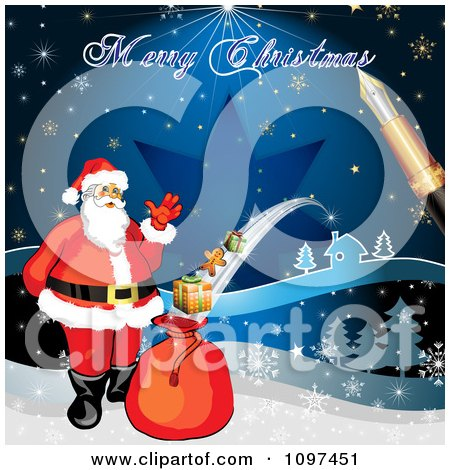 Clipart of a welcoming santa claus over a red christmas sign merry christmas greeting drawn by a pen over santa with a magic gift sack m4hsunfo Images