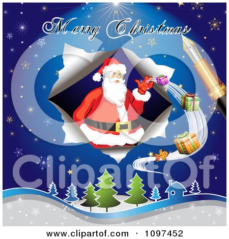 Clipart Merry Christmas Greeting Drawn By A Pen Over Santa Delivering Gifts - Royalty Free Vector Illustration by merlinul