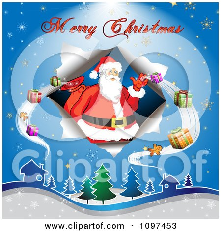 Clipart Merry Christmas Greeting Over Over Santa Delivering Presents - Royalty Free Vector Illustration by merlinul