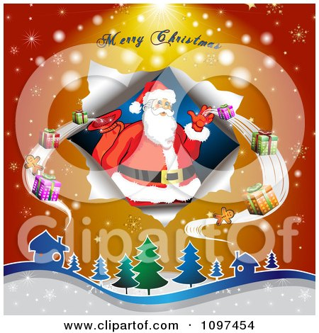 Clipart Merry Christmas Greeting Over Over Santa Delivering Gifts - Royalty Free Vector Illustration by merlinul