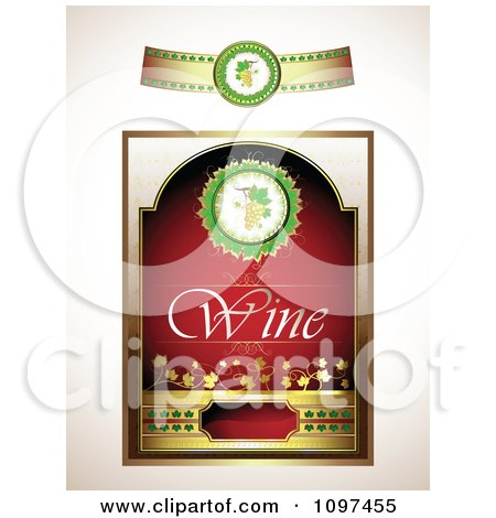 Clipart Vintage Red And Gold Wine Label With A Band - Royalty Free Vector Illustration by merlinul