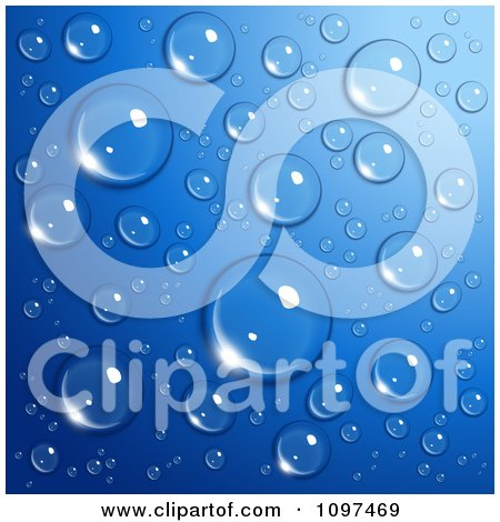 Clipart Background Of Reflective Water Droplets On Blue - Royalty Free Vector Illustration by Oligo