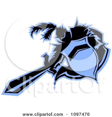 Clipart Black And Blue Medieval Knight Mascot Thrusting A Sword - Royalty Free Vector Illustration by Chromaco