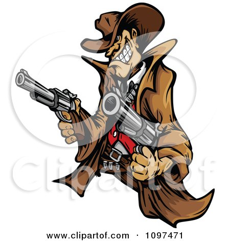 Clipart Wild West Cowboy Mascot Shooting Two Pistols - Royalty Free Vector Illustration by Chromaco