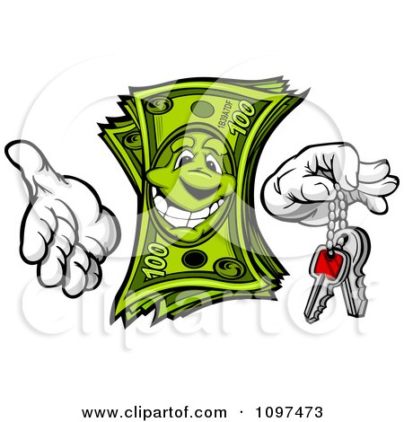 Clipart Happy Cash Mascot Holding Out Car Or House Keys - Royalty Free Vector Illustration by Chromaco