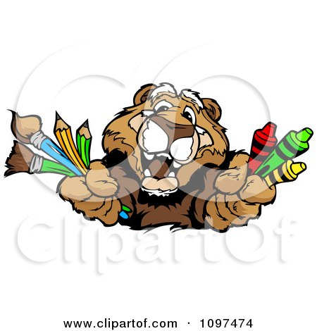 Clipart Happy Cougar Mascot Holding Out Art Crayons Paintbrushes And Pencils - Royalty Free Vector Illustration by Chromaco