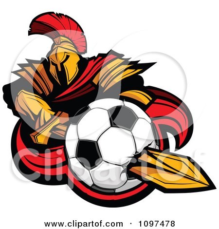 Clipart Spartan Warrior Mascot Stabbing A Soccer Ball With His Golden Sword - Royalty Free Vector Illustration by Chromaco