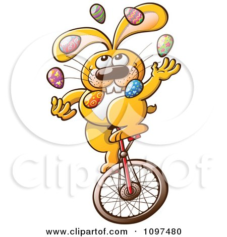 Clipart Talented Easter Bunny Juggling Eggs And Riding A Unicycle - Royalty Free Vector Illustration by Zooco