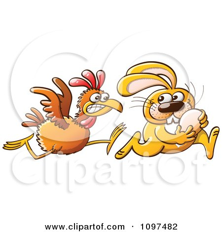 Clipart Thieving Easter Bunny Running With An Egg Stolen From An Angry Hen - Royalty Free Vector Illustration by Zooco