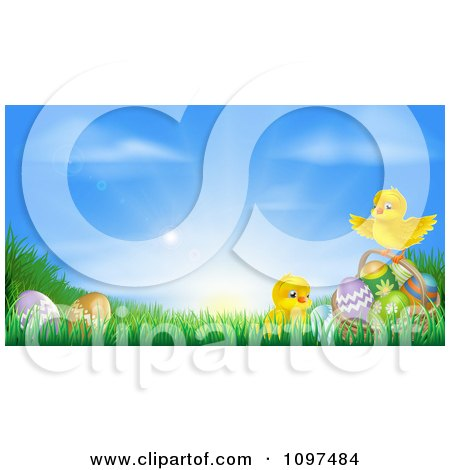 Clipart Cute Easter Chicks With Eggs In Grass Against A Sunrise - Royalty Free Vector Illustration by AtStockIllustration