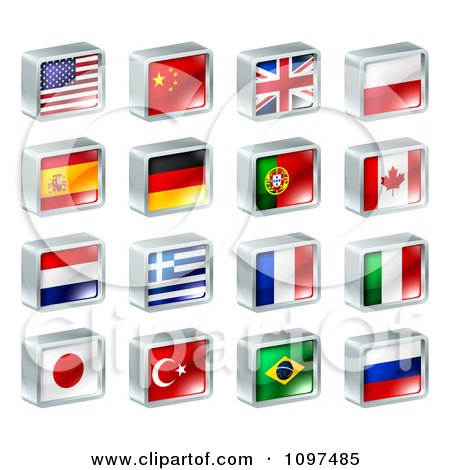 Clipart 3d Square Flag Icons With Chrome Edges Royalty Free Vector Illustration