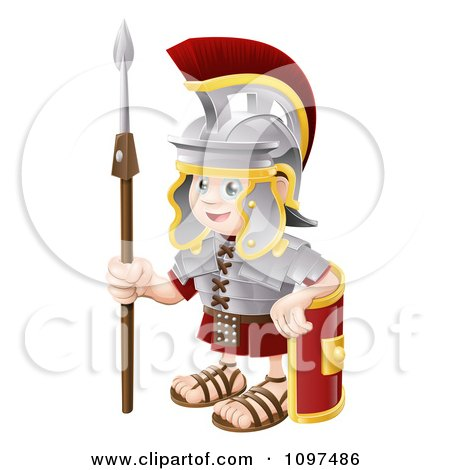 Clipart Happy Boy Roman Soldier With A Shield And Spear - Royalty Free Vector Illustration by AtStockIllustration